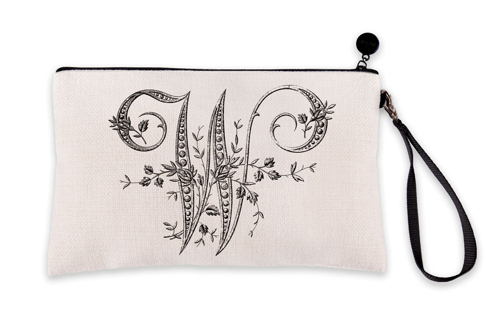 Vintage French Monogram Letter W Makeup Bag