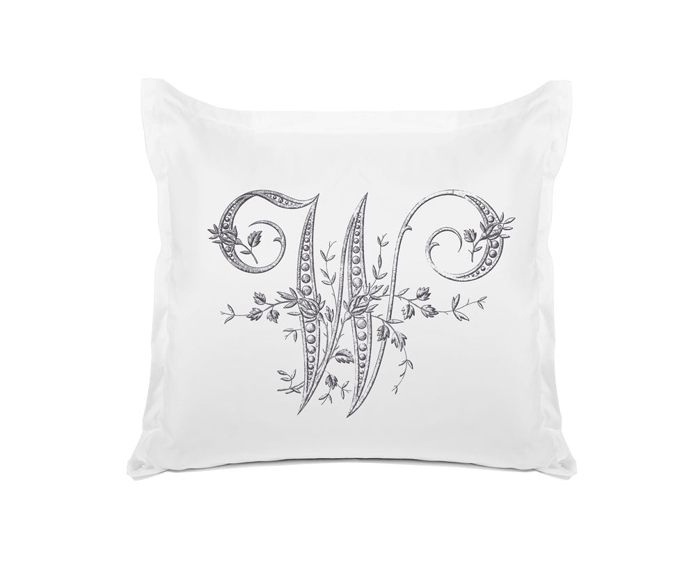 Vintage French Monogram Letter W Pillowcase