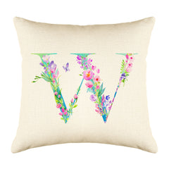 Floral Watercolor Monogram Letter W Throw Pillow Cover