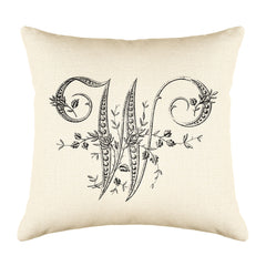 Vintage French Monogram Letter W Throw Pillow Cover