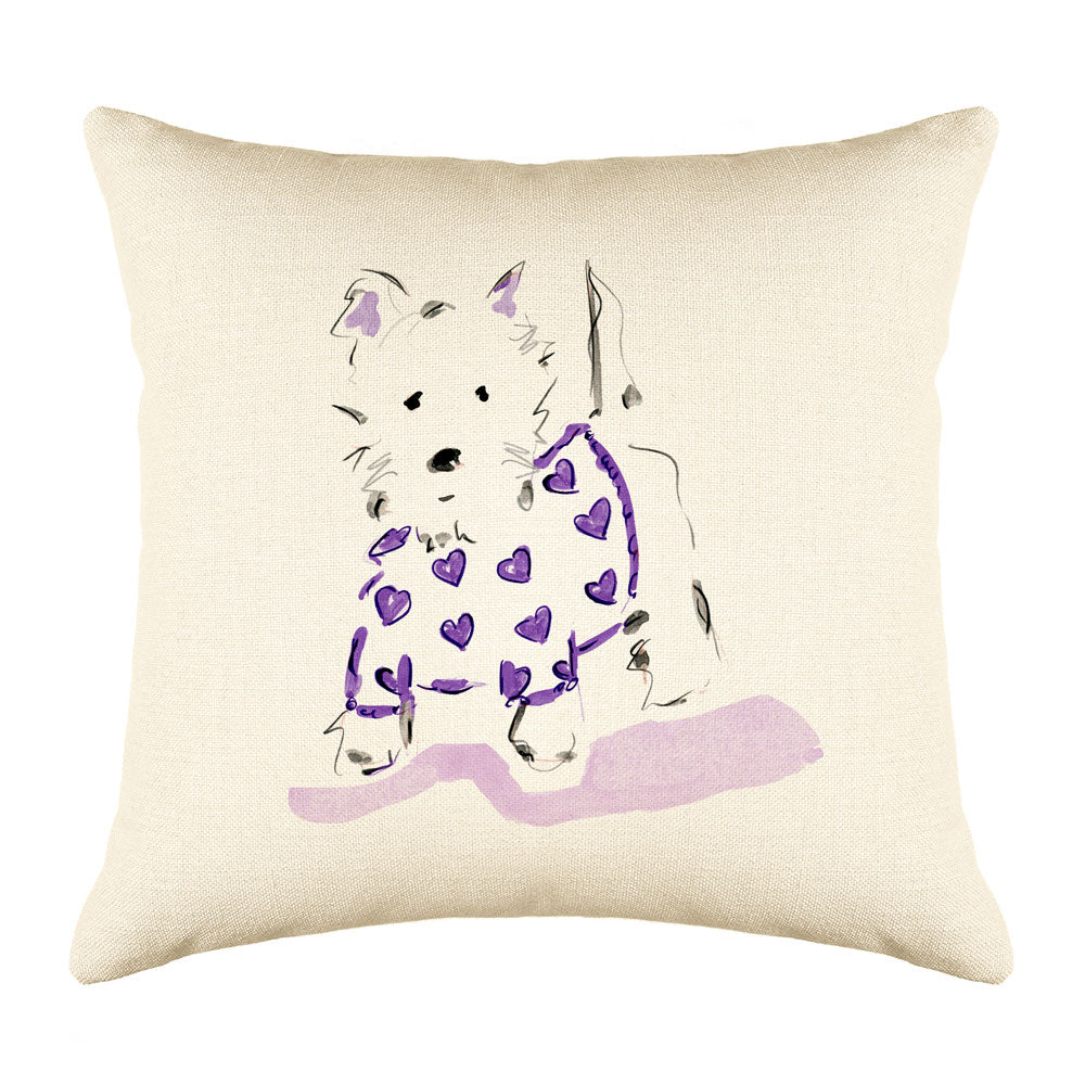 Willie Westie Throw Pillow Cover - Dog Illustration Throw Pillow Cover Collection