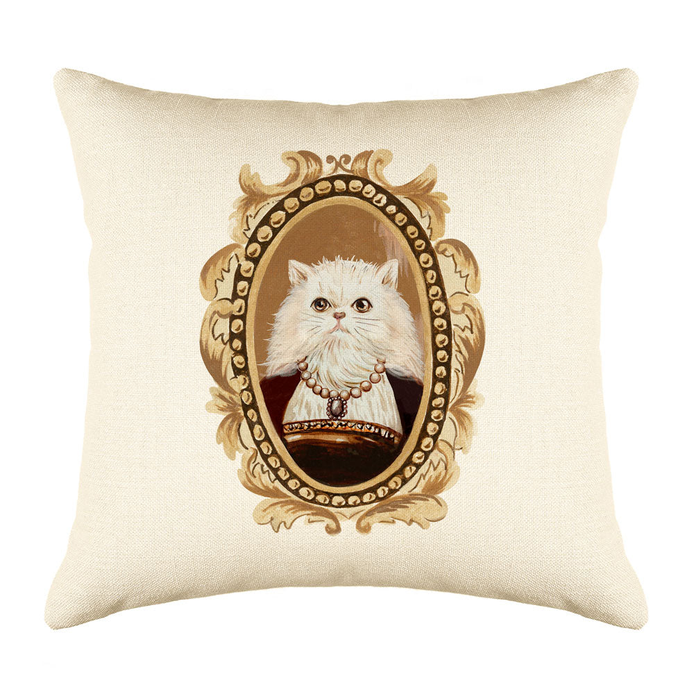 White Persian Cat Portrait Throw Pillow Cover - Cat Illustration Throw Pillow Cover Collection-Di Lewis