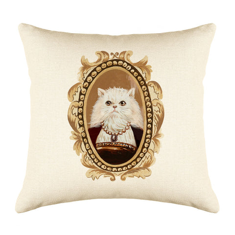 White Persian Cat Throw Pillow Cover - Cat Illustration Throw Pillow Cover Collection