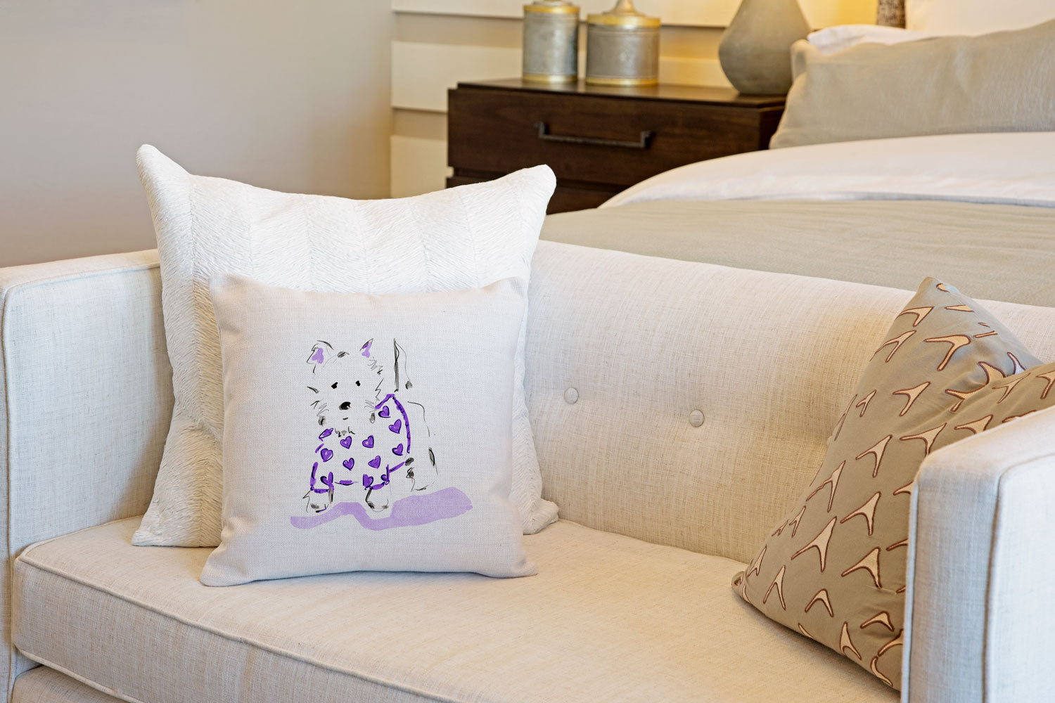 Willie Westie Throw Pillow Cover - Dog Illustration Throw Pillow Cover Collection-Di Lewis