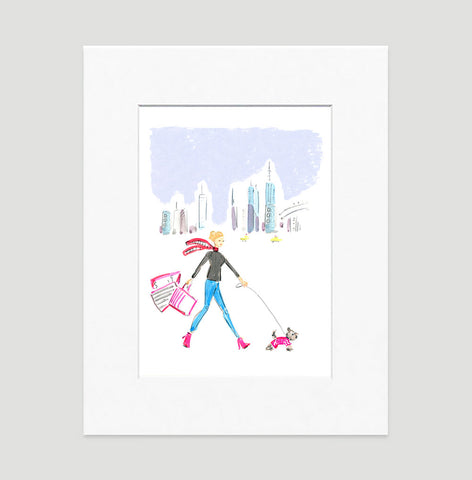 Winter Walk Art Print - Fashion Illustration Wall Art Collection-Matted-Di Lewis