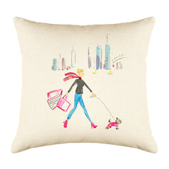Winter Walk Throw Pillow Cover - Fashion Illustrations Throw Pillow Cover Collection-Di Lewis