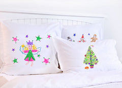Christmas Fairy Stars Pink & Green - Kids Personalized Pillowcase Collection