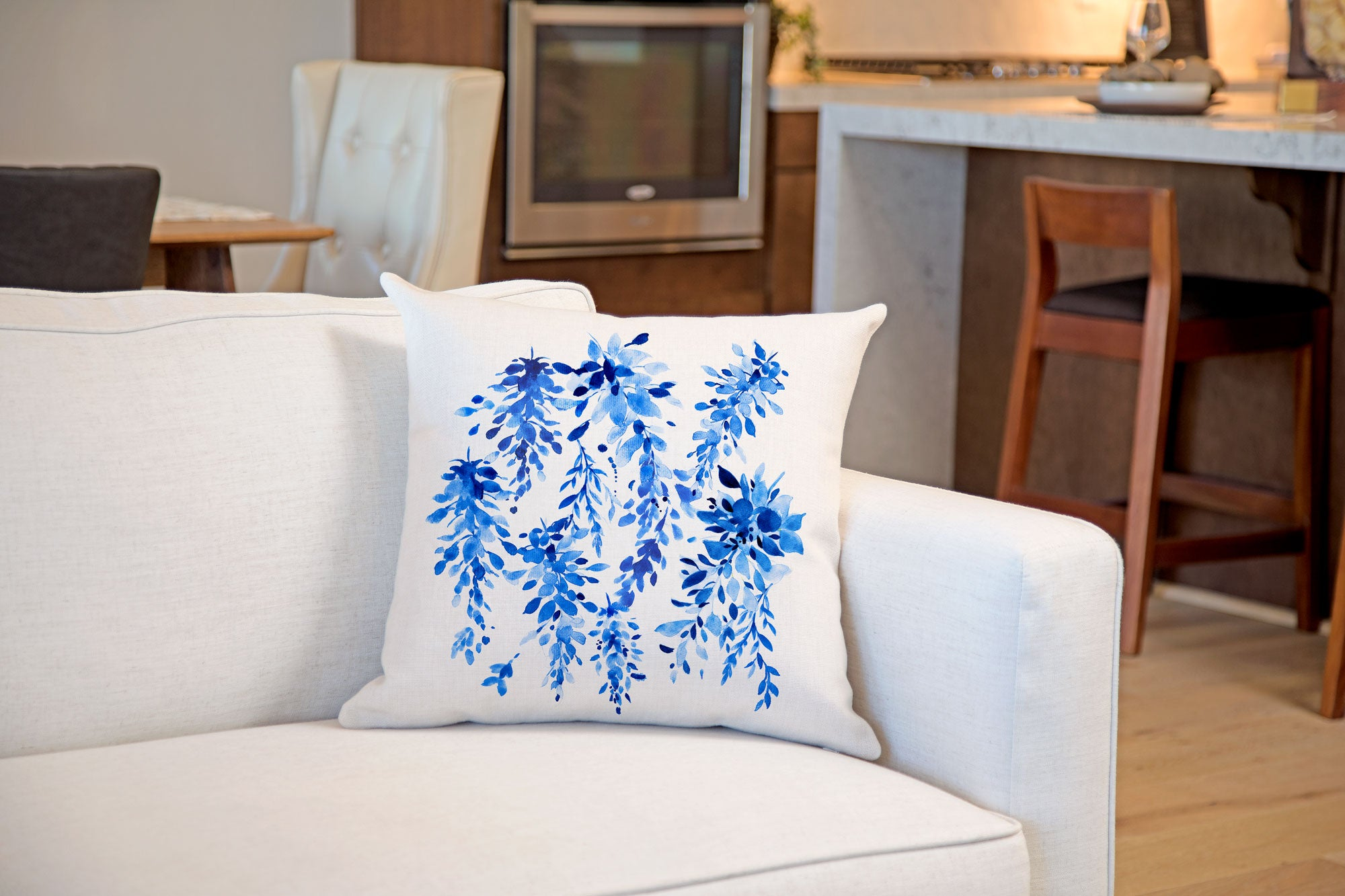 Blue Wisteria Floral Throw Pillow Cover - Decorative Designs Throw Pillow Cover Collection