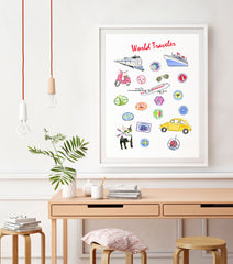 World Traveller Art Print - Travel Print Wall Art Collection-Room Setting-Di Lewis