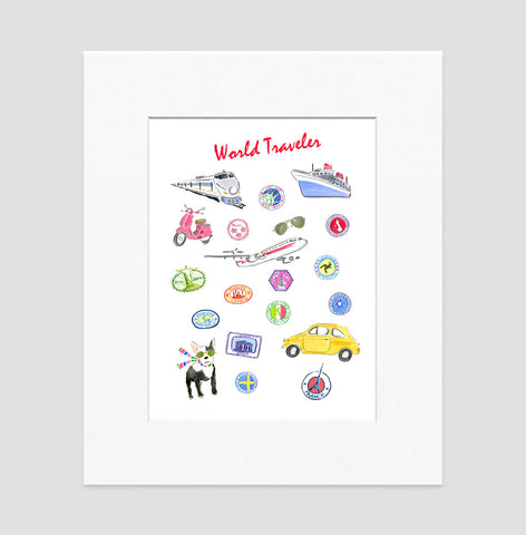 World Traveller Art Print - Travel Print Wall Art Collection-Matted-Di Lewis