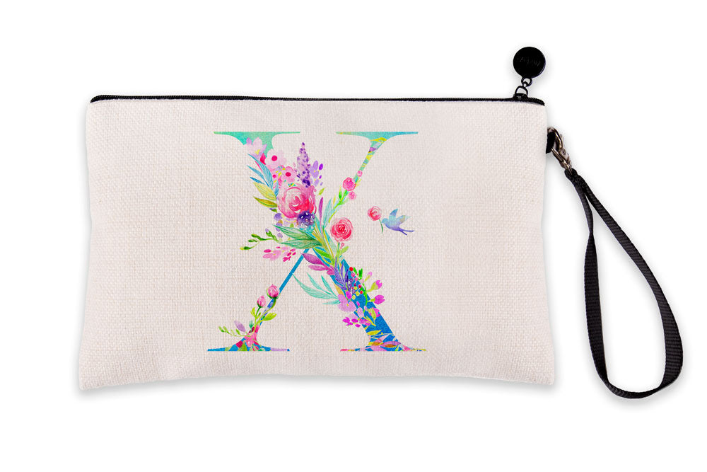 Floral Watercolor Monogram Letter X Makeup Bag