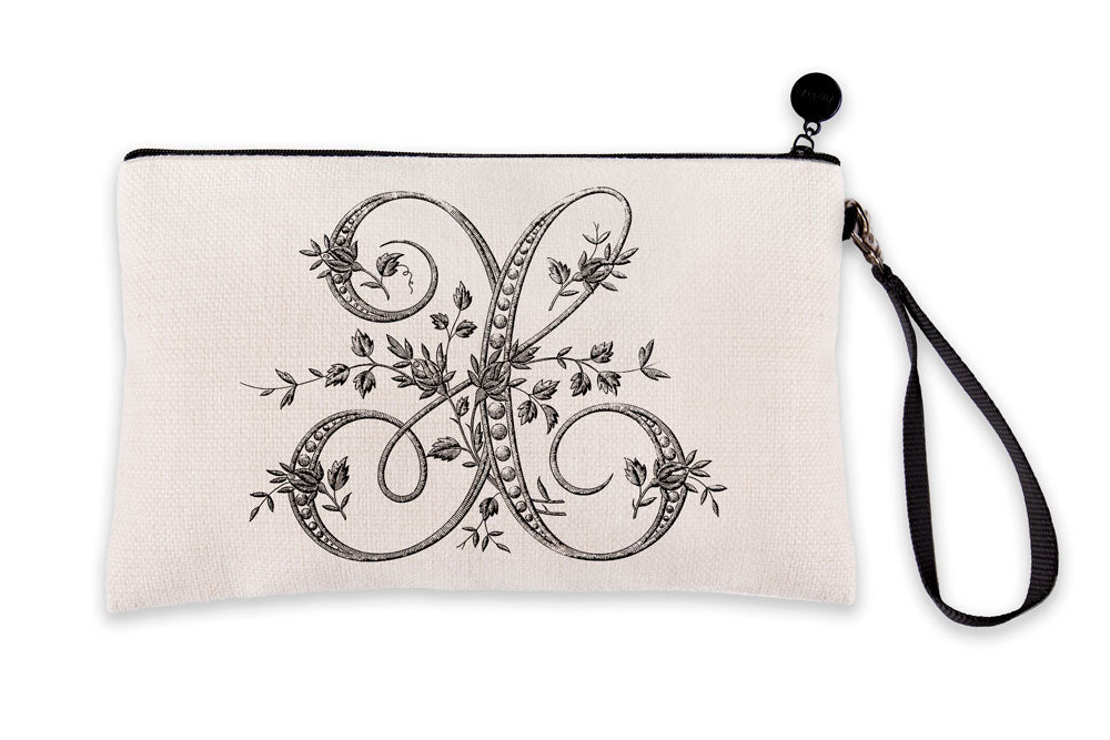 Vintage French Monogram Letter X Makeup Bag