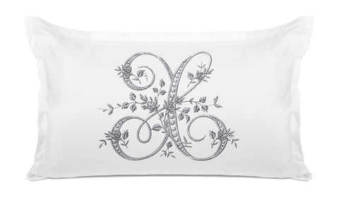 Vintage French Monogram Letter X Pillowcase