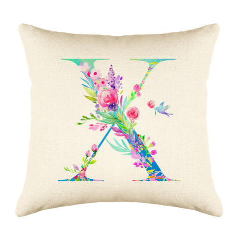Floral Watercolor Monogram Letter X Throw Pillow Cover