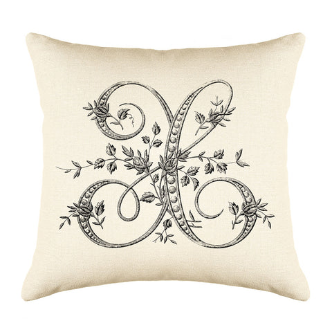 Vintage French Monogram Letter X Throw Pillow Cover