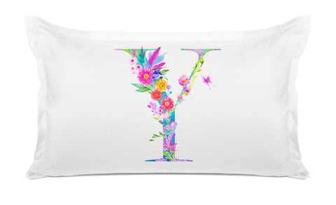 Floral Watercolor Monogram Letter Y Pillowcase