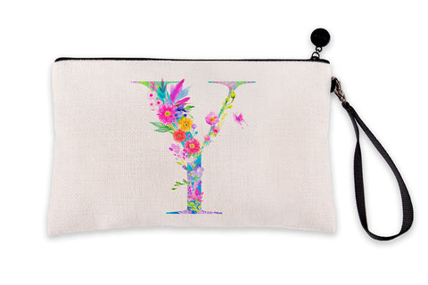 Floral Watercolor Monogram Letter Y Makeup Bag