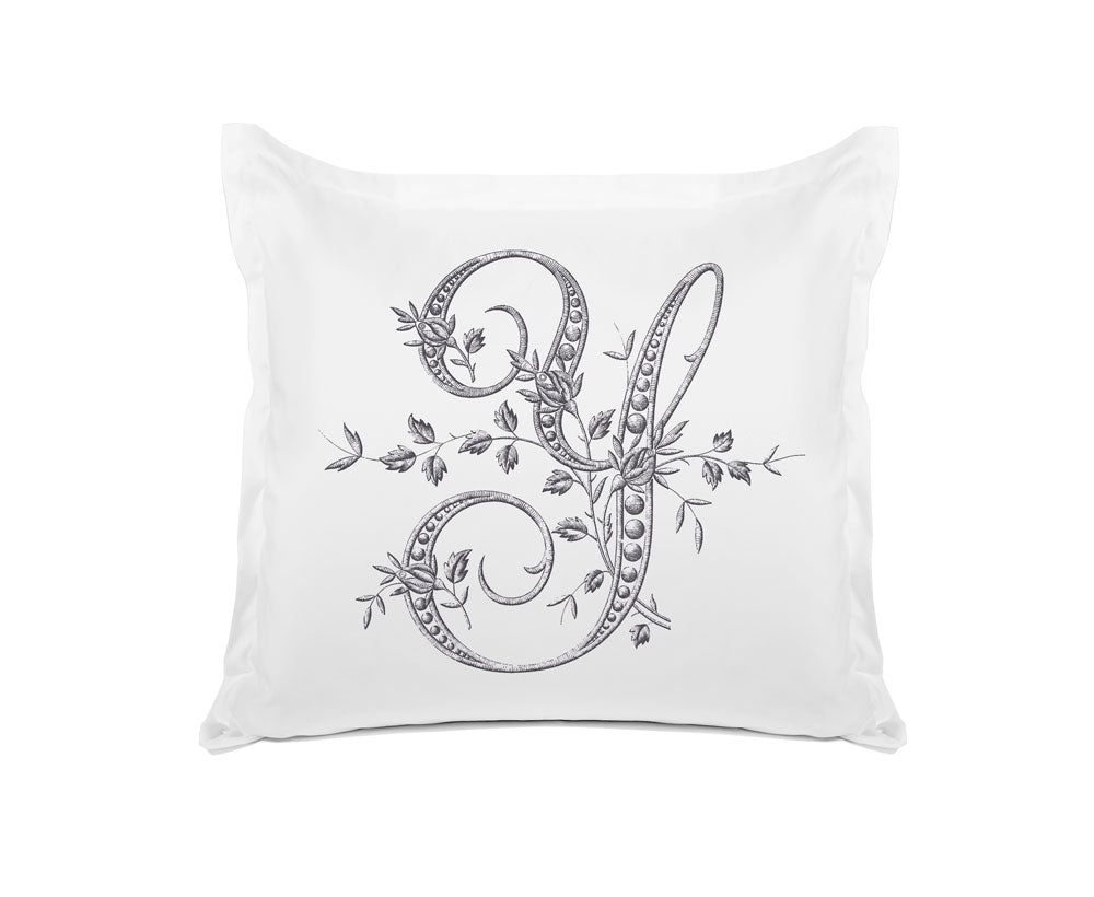 Vintage French Monogram Letter Y Pillowcase