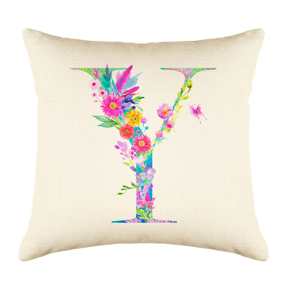 Floral Watercolor Monogram Letter Y Throw Pillow Cover