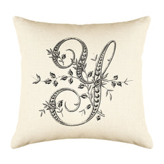Vintage French Monogram Letter Y Throw Pillow Cover
