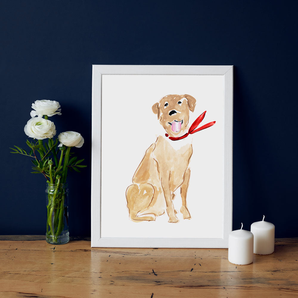 Larry Labrador Art Print - Dog Illustrations Wall Art Collection