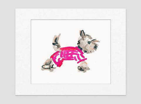 Yuki Yorkie Art Print - Dog Illustrations Wall Art Collection-Di Lewis