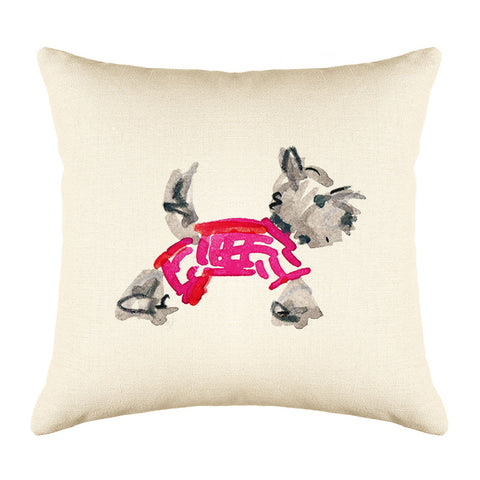 Yuki Yorkie Throw Pillow Cover - Dog Illustration Throw Pillow Cover Collection