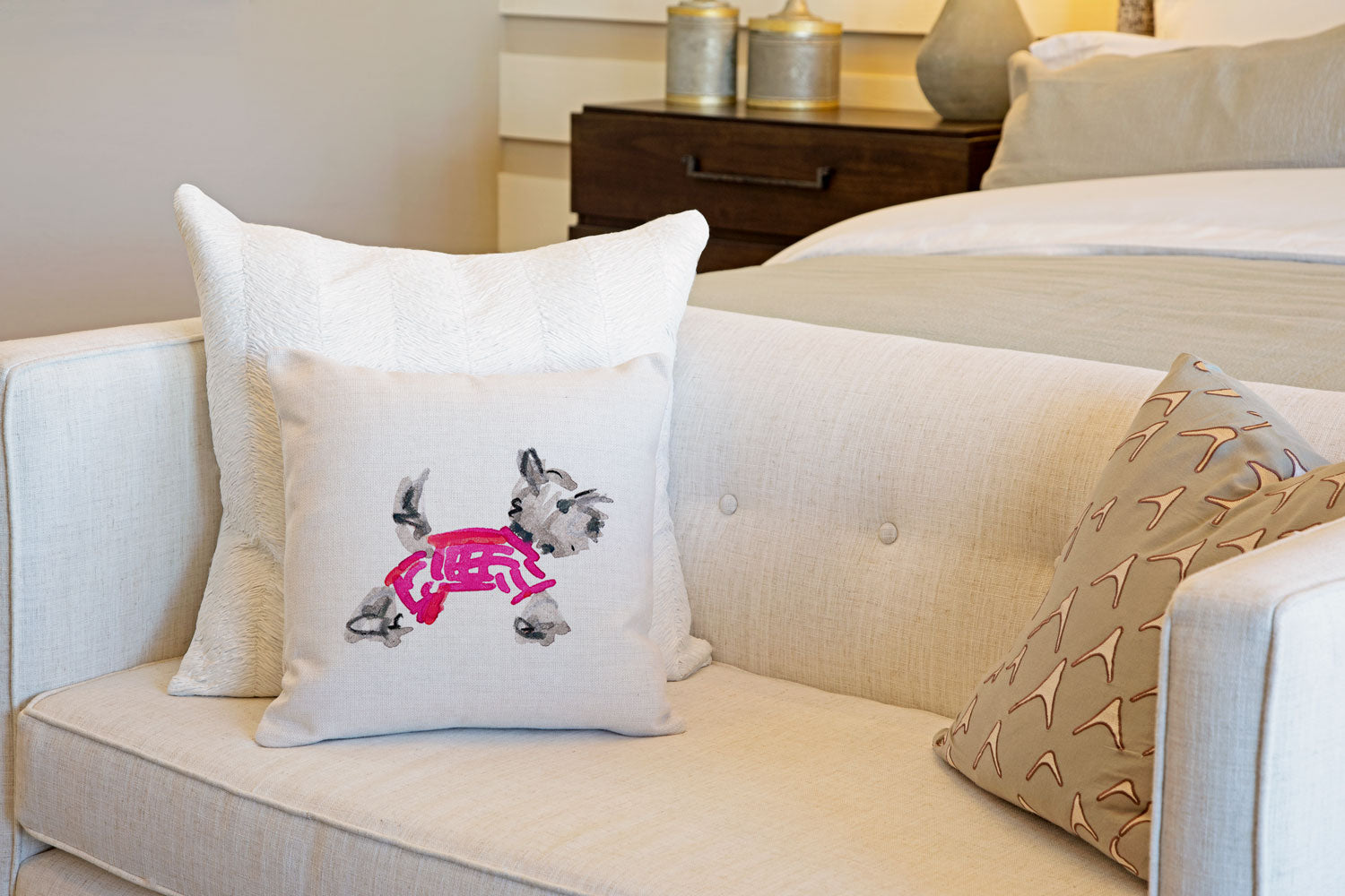 Yuki Yorkie Throw Pillow Cover