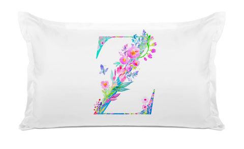 Floral Watercolor Monogram Letter Z Pillowcase