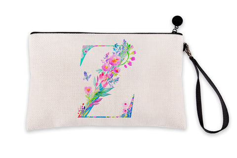 Floral Watercolor Monogram Letter Z Makeup Bag