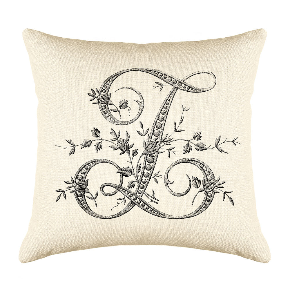 Vintage French Monogram Letter Z Throw Pillow Cover