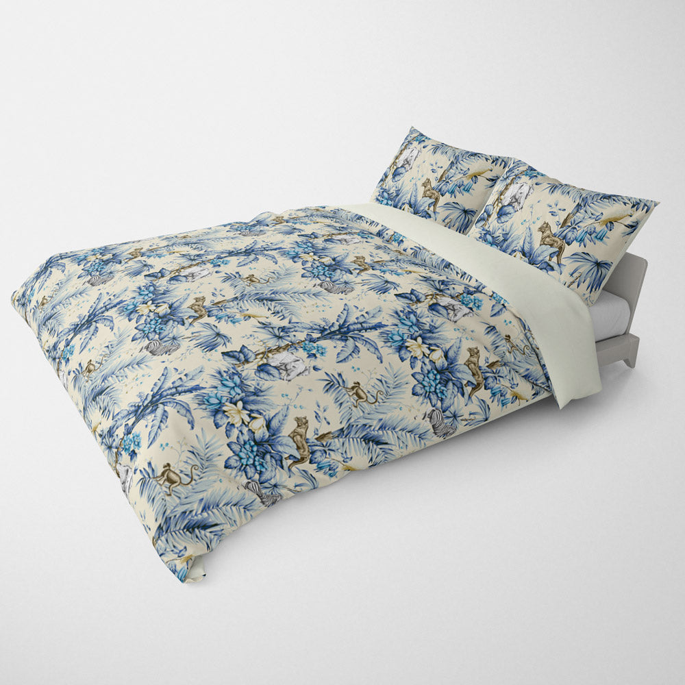 DECORATIVE DUVET COVERS & BEDDING SETS ZAMBIA CLASSIC BLUE - ANIMAL DESIGN - HYPOALLERGENIC