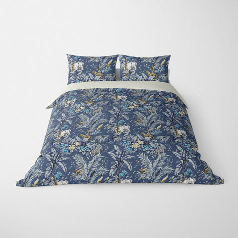 DECORATIVE DUVET COVERS & BEDDING SETS ZAMBIA INDIGO BLUE - ANIMAL DESIGN - HYPOALLERGENIC