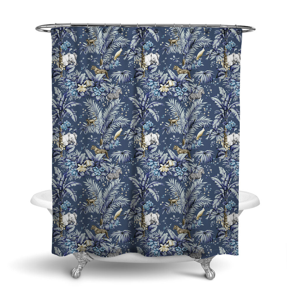 ZAMBIA - DECORATIVE SHOWER CURTAIN - INDIGO BLUE - TROPICAL DESIGN - JUNGLE ANIMALS