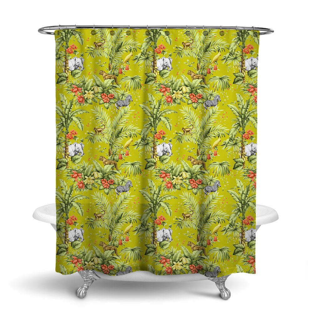 ZAMBIA - DECORATIVE SHOWER CURTAIN - JONQUIL - TROPICAL DESIGN - JUNGLE ANIMALS