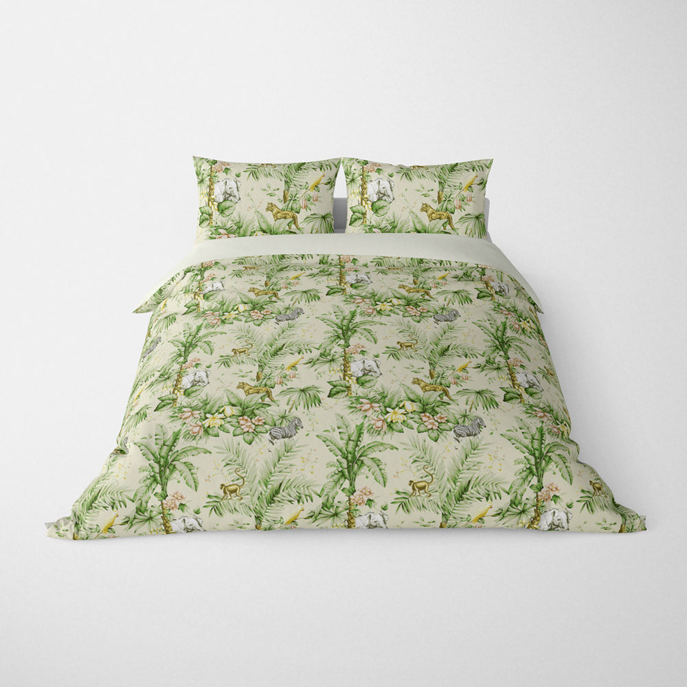DECORATIVE DUVET COVERS & BEDDING SETS ZAMBIA PALM GREEN - ANIMAL DESIGN - HYPOALLERGENIC