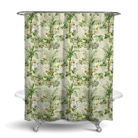 ZAMBIA DECORATIVE SHOWER CURTAIN PALM GREEN – SHOWER CURTAIN COLLECTION