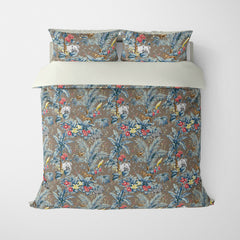 DECORATIVE DUVET COVERS & BEDDING SETS ZAMBIA TAUPE BLUE - ANIMAL DESIGN - HYPOALLERGENIC