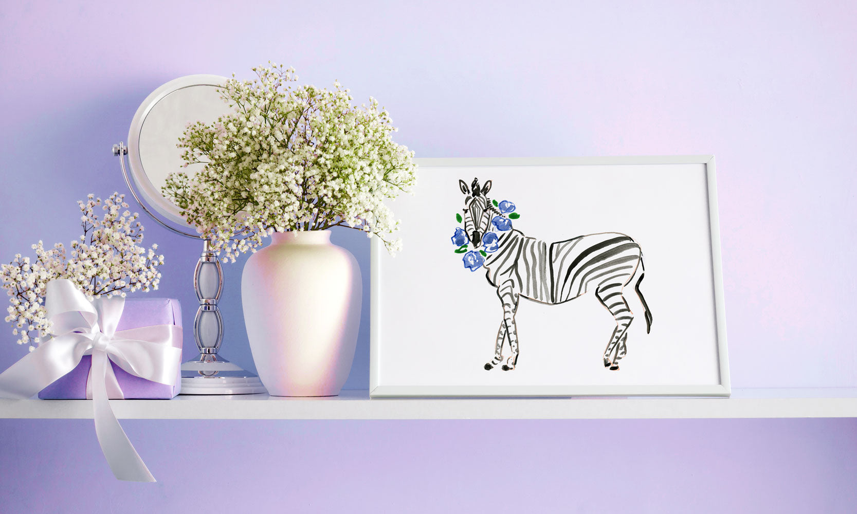 Zander Zebra Art Print - Animal Illustrations Wall Art Collection-Room Setting-Di Lewis