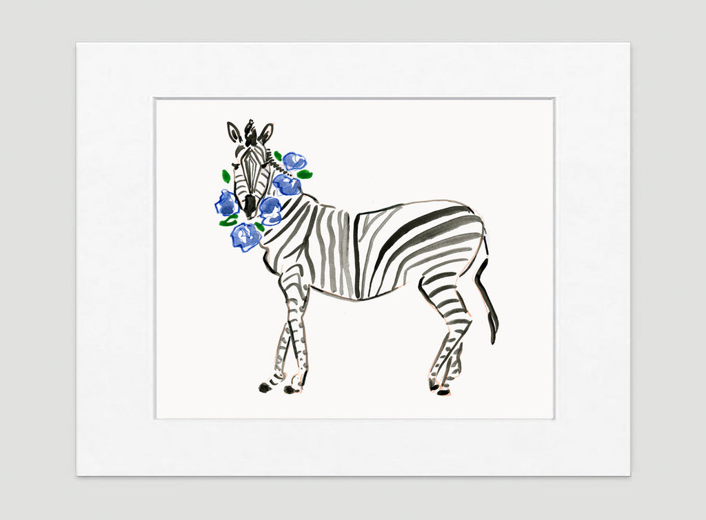 Zander Zebra Art Print - Animal Illustrations Wall Art Collection-Matted-Di Lewis