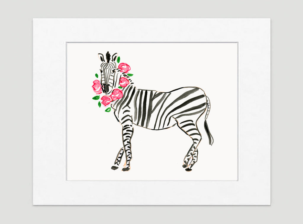 Zoe Zebra Art Print - Animal Illustrations Wall Art Collection-Di Lewis