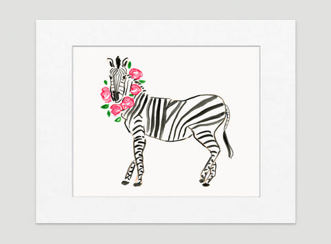 Zoe Zebra Art Print - Animal Illustrations Wall Art Collection-Matted-Di Lewis