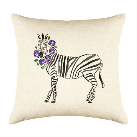Zelda Zebra Throw Pillow Cover - Animal Illustrations Throw Pillow Cover Collection-Di Lewis
