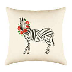 Zara Zebra Throw Pillow Cover - Animal Illustrations Throw Pillow Cover Collection-Di Lewis