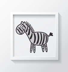 Black & White Zebra Art Print - Kids Bedroom Wall Art Collection-Di Lewis