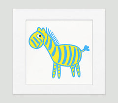 Blue & Gold Zebra - Kids Bedroom Wall Art Collection