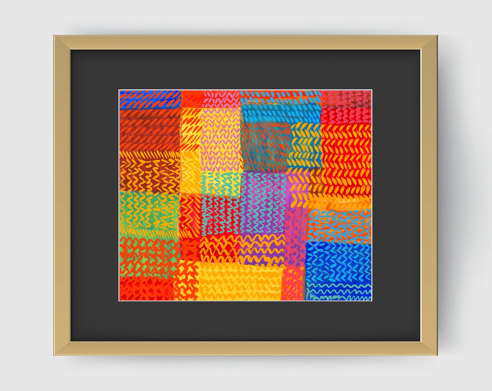 Zigzag Multi Abstract Art Print Di Lewis Living Room Wall Decor