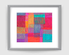 Zigzag Pink Aqua Art Print - Abstract Art Wall Decor Collection-Di Lewis