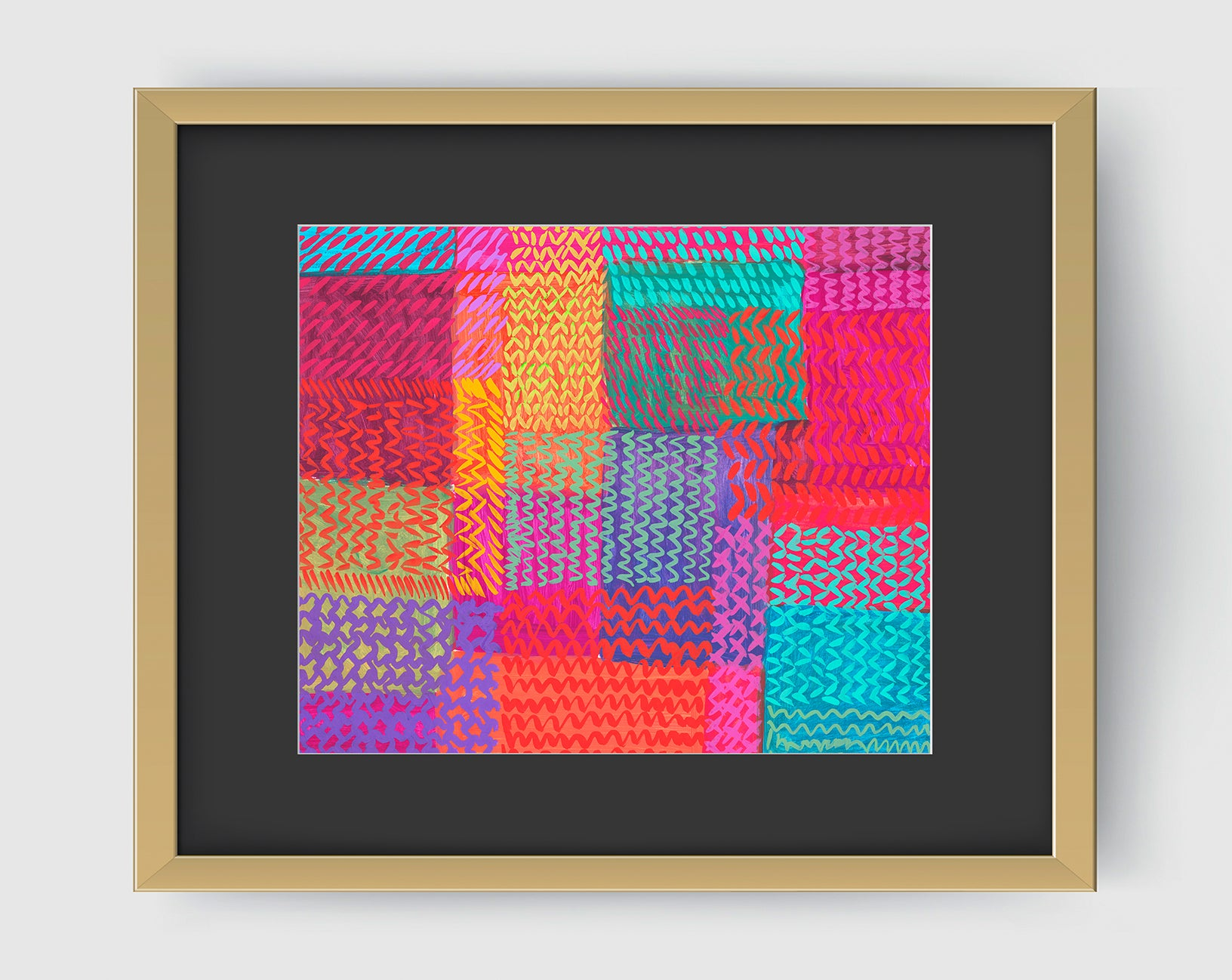 Zigzag Pink Aqua Abstract Art Print Di Lewis Living Room Wall decor