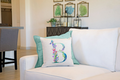 Floral Watercolor Monogram Letter B Throw Pillow Cover